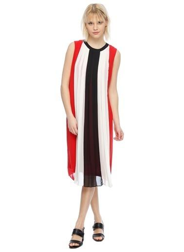 House Of Camellia Kolsuz Çizgili Midi Elbise Renkli